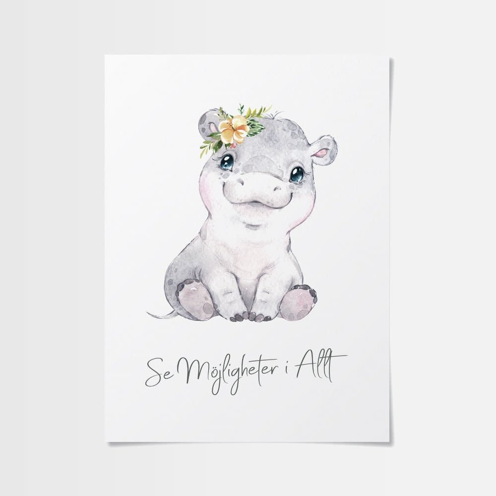 affischer flodhästbebis med blommor