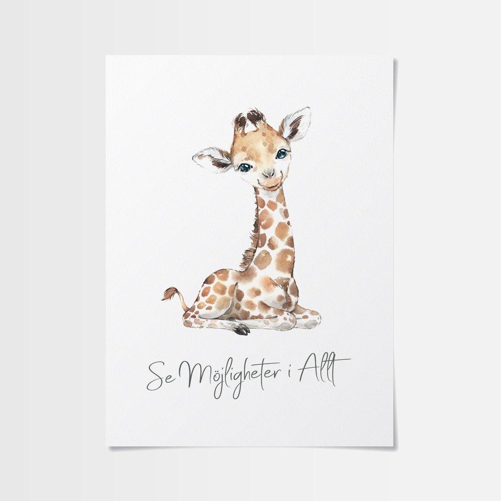 Fina barn poster av gullig giraff