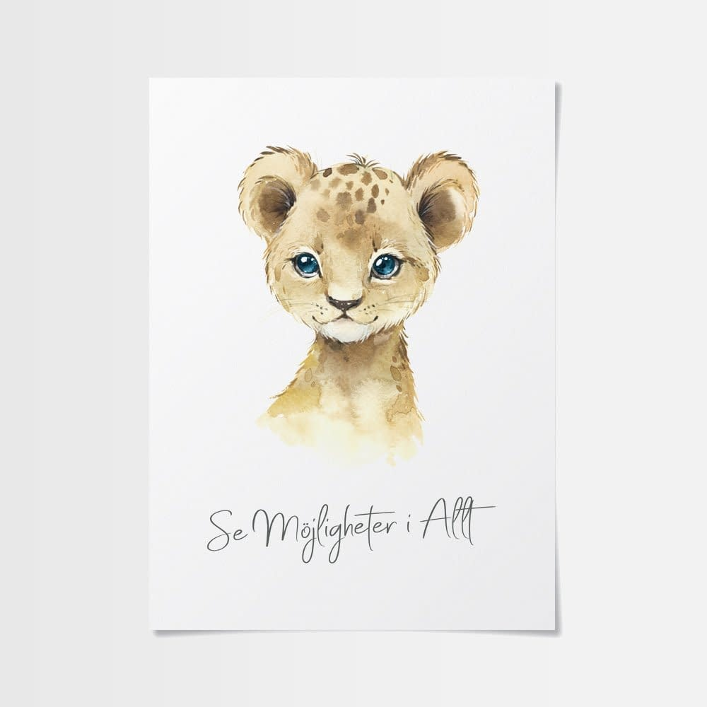 Bra citat poster med gulligt lejon