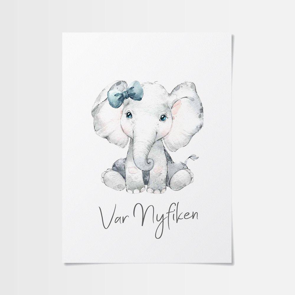 Bebis djur poster av söt elefantunge