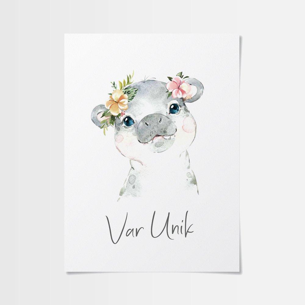 Posters barnrum med flodhäst med blomma
