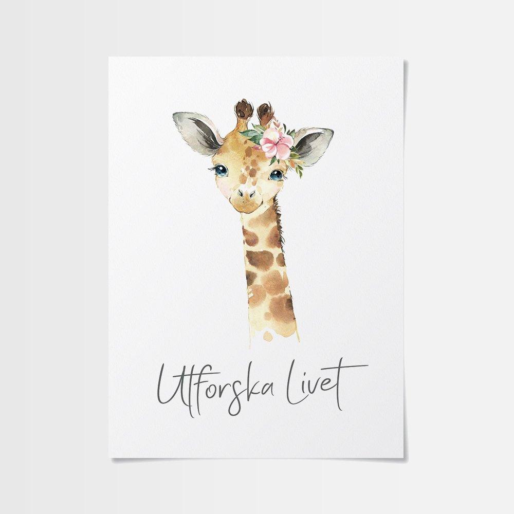 Citat barn dop poster med giraff