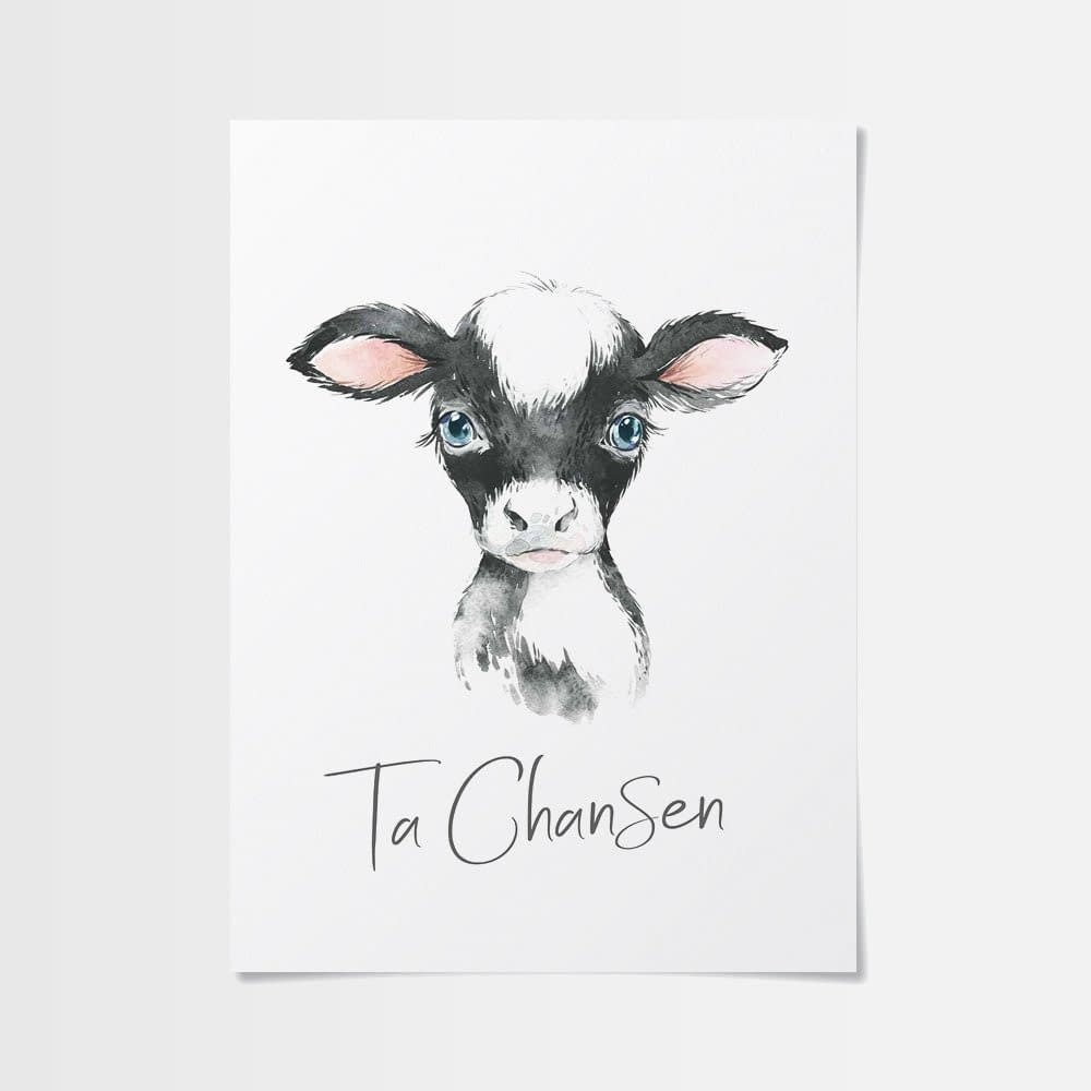 Tecknad bebis poster av en söt kalv