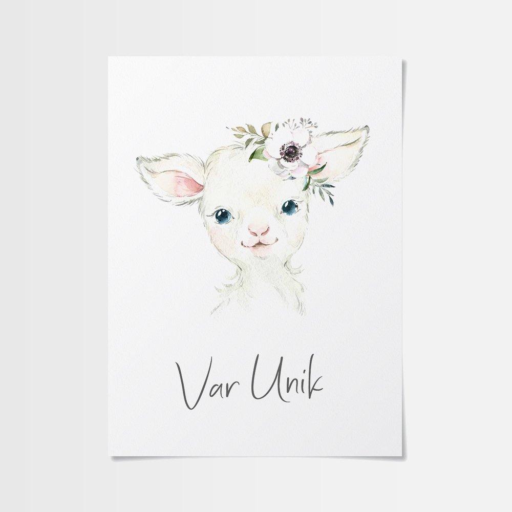 Födelsetavla med ett sött lamm