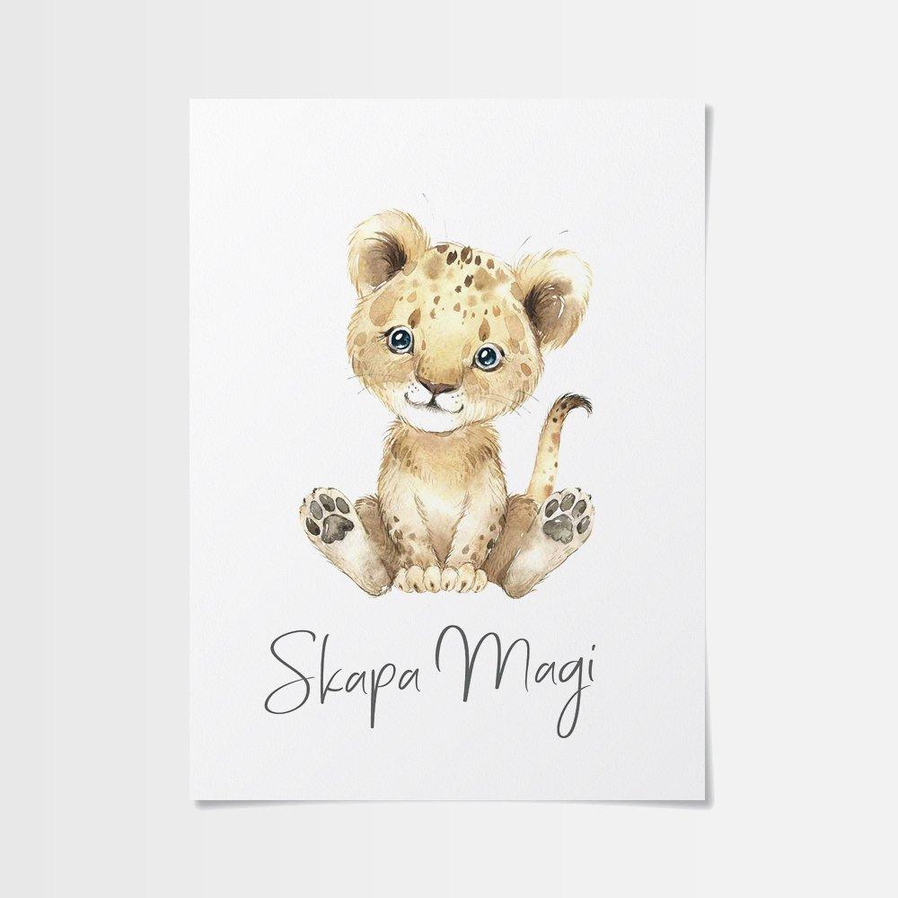 Poster 70x100 med fint lejon