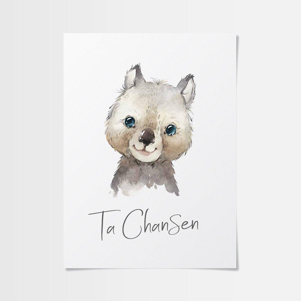 Poster för barn med gulligt pungdjur