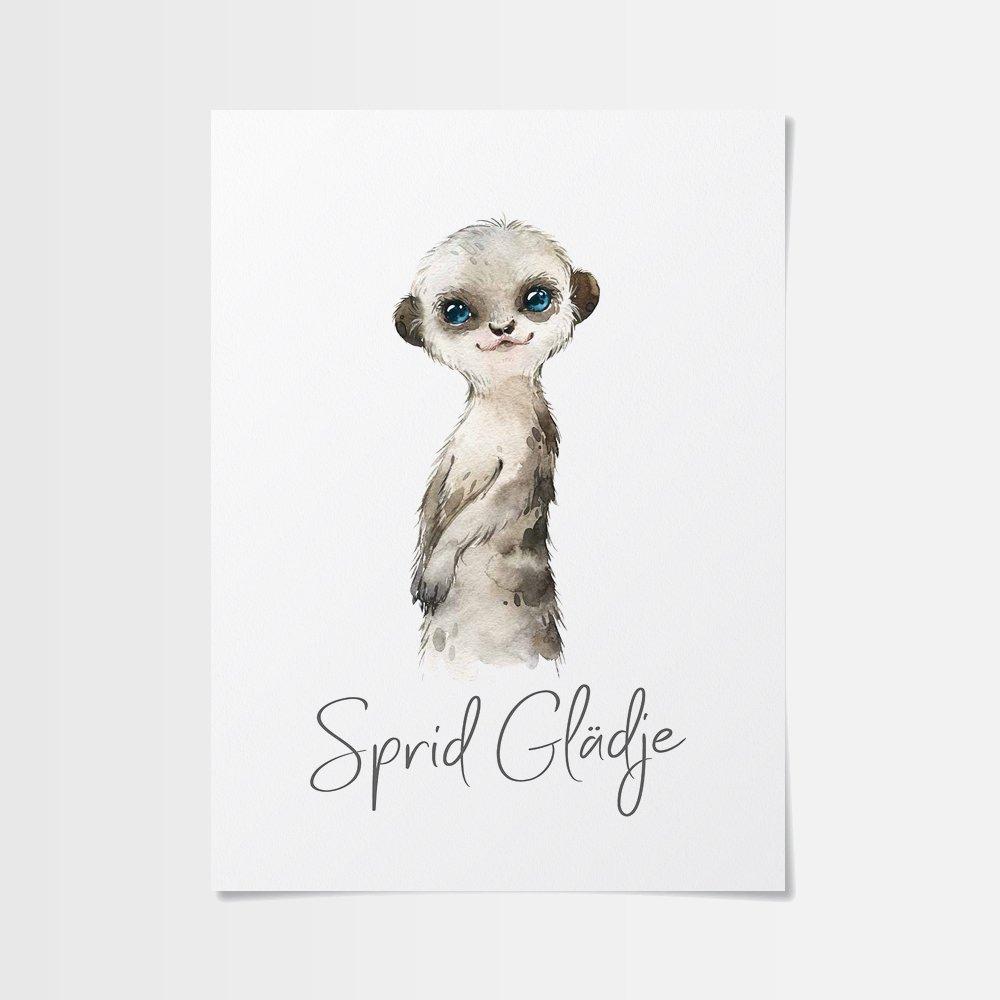 Akvarellmålning med en stolt surikat