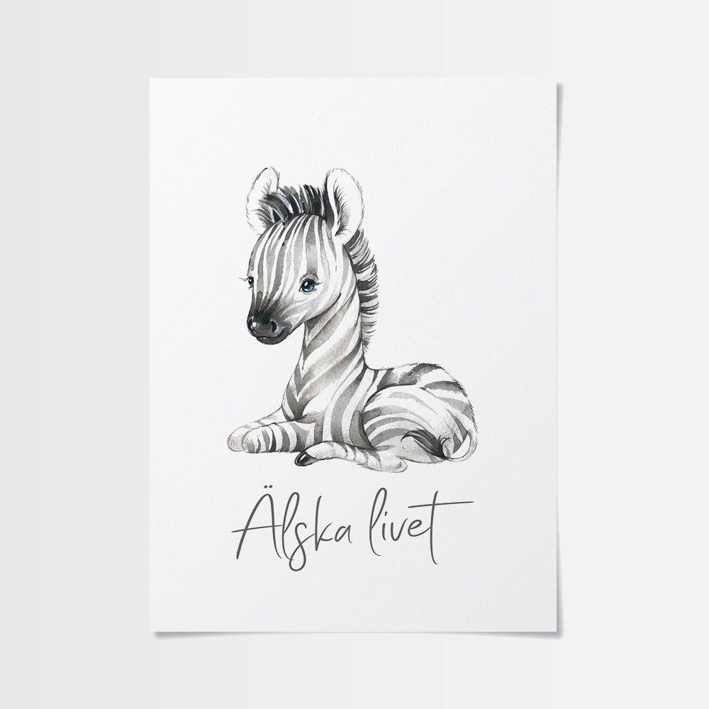 Konst poster med zebraunge