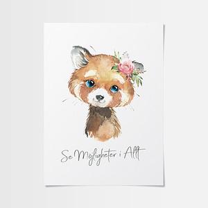 Poster med inspiration med röd panda
