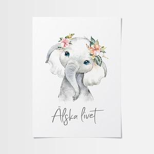 Elefant poster av en gullig unge