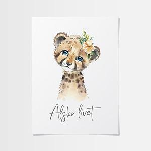 Barn posters av gepard med blomma