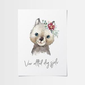 Poster till barnrum med pungdjur med blomma
