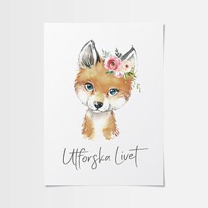 Prints till barnrum av räv med blommor