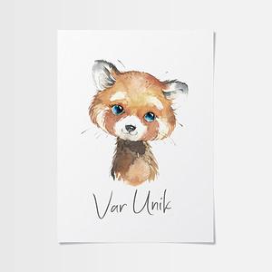 Färgglada tavlor med en röd panda