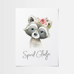 Tavlor till barn med tvättbjörn med blommor