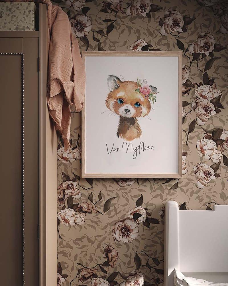 Affisch i barnrum på röd panda